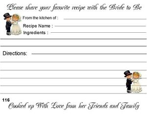Details About Bridal Shower Recipe Cards 40 Quantity Personalized