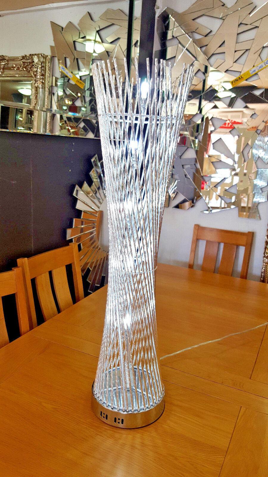Modern floor/Lampe de table aluminium/métal Twist fil rond 84x22cm 84x22cm rond Argent DEL 0ceb1a