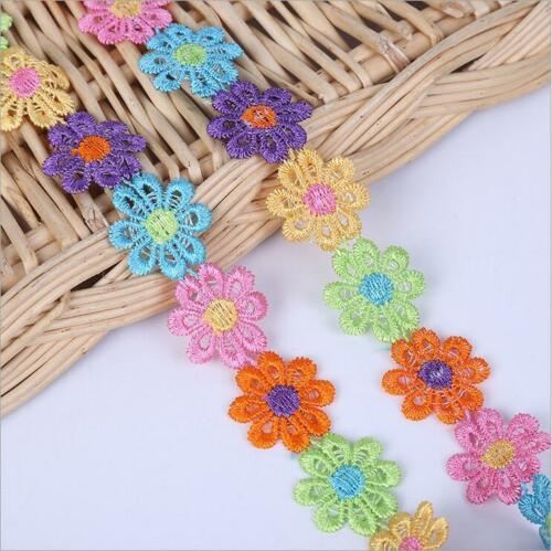 DIY 4Yard Embroidered Flowers lace Trim decoration Clothing//hat Appliques Sewing
