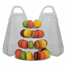 4-TIER (SET OF 2) ROUND FRENCH MACARON TOWER DISPLAY STANDS w/ CARRYING CASES