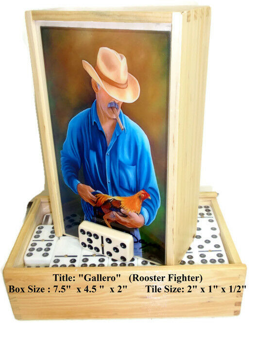 Dominoes Set Double Nine  Gallero  Oil painting on Top. Dozen Art to Choose