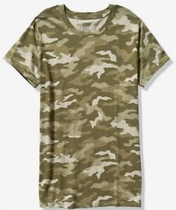 NWT-PINK-VS-VICTORIA-039-S-SECRET-CREW-TEE-TSHIRT-GREEN-CAMO-MEDIUM-FREE-SHIPPING