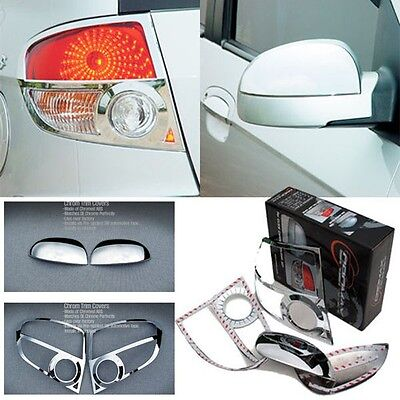 Chrome Side Mirror Cover & Rear Tail Lights Cover 4p For 02 05 Hyundai Getz
