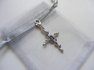 Rose-Cross-Clip-On-Charm-For-Bracelets-Anklets-Handbags-Zip-Pulls-amp-Gift-Bag