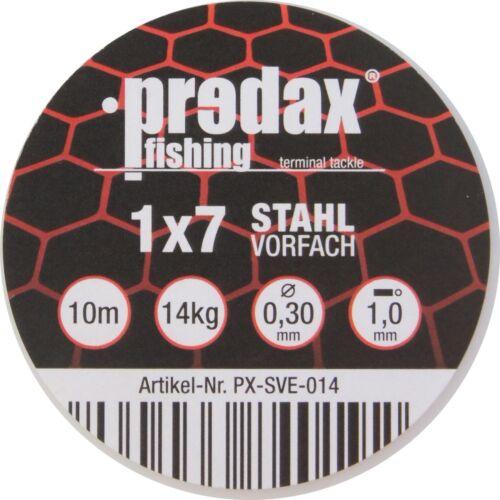 Predax Stahlvorfach 1x7 braun 10m Spule 0,72€//1m Stahlschnur für Hecht
