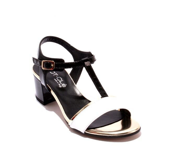 MOT-CLe 6841 Black White Gold Leather / Patent T-Strap Sandals / 41 / Sandals US 11 42f60f
