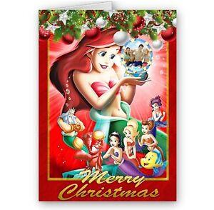 Little Mermaid Disney Princess Ariel A5 Merry Christmas Card With Envelope