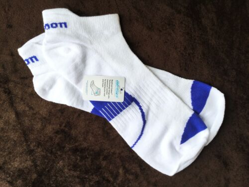 MENS QUALITY WILSON TAB BACK TRAINER SOCKS WHITE BLUE ARCH SUPPORT BREATHABLE