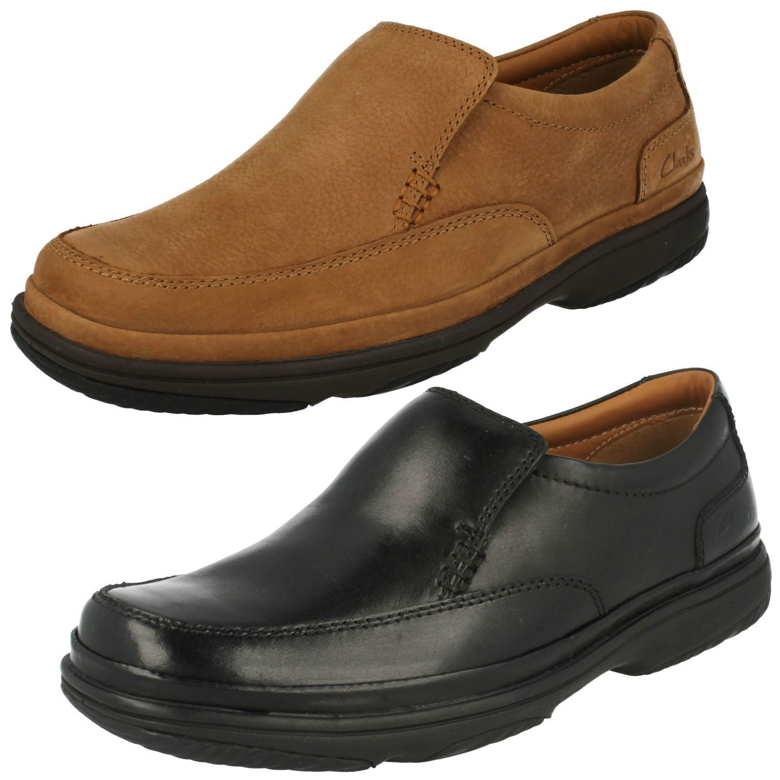 SWIFT STEP MENS CLARKS LEATHER CASUAL SMART EXTRA WIDE SLIP ON SHOES SIZE