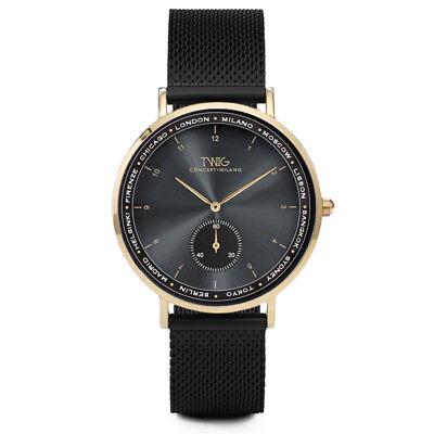 Reloj hombre/mujer TWIG LUTERO negro/oro/plata malla clásico vintage