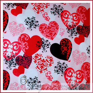 BonEful-Fabric-FQ-Flannel-Pink-Red-Damask-HEART-S-Scroll-Tattoo-Harley-Bike-GIRL