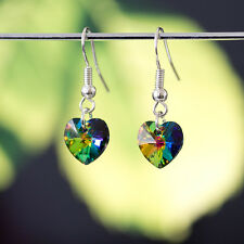 986068d98 925 Sterling Silver Dangle Earring with Genuine Swarovski Elements Crystal  Heart