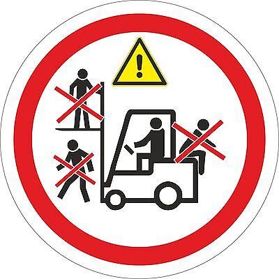 Aufkleber Gabelstapler Stapler verboten Sicherheit Flurförderfahrzeug 10 - 50 cm