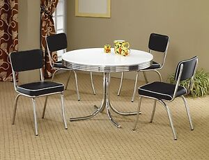 1950s style chrome retro dining table set black chairs dining room