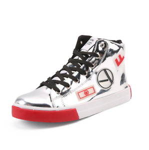 Mens Patent Leather Lace Up Leisure Athletic High Top Sport Sneaker Punk Shoes B