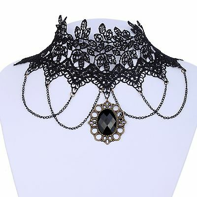 Black Lace Bronze Crystal Pendant Choker Collar Bib Necklace Victorian Jewelry