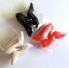 "Doll Shoes 3 Pair / 1 EA. BLACK WHITE ORANGE Pumps fit Candi 16"" Tyler Ellowyne"