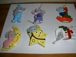 Vintage Ceramic Christmas Hand Painted Mice / Mouse Ornaments lot of (6)