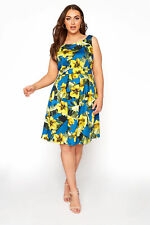 Yours Women's Yellow Sleeveless Floral Skater Dress Plus Size Curve Yellow Size