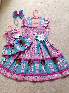 New-Handmade-Doc-McStuffins-2-Dress-Toddler-Girls-2T-9-10-HairBow-Doll-Dress