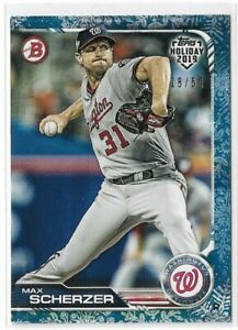 2019 Topps Bowman Holiday white snow parallel Max Scherzer 18/50 Washington