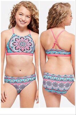Justice size 7 Girls Swimsuit Bikini Tie Dye Medallion Reversible