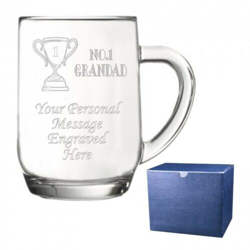 Personalised #No1 Dad Glass Pint Tankard Engraved Gift