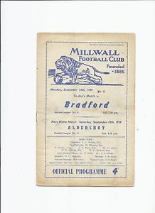 Millwall v Bradford Park Avenue 14 September 1959 - Tilbury, United Kingdom - Millwall v Bradford Park Avenue 14 September 1959 - Tilbury, United Kingdom