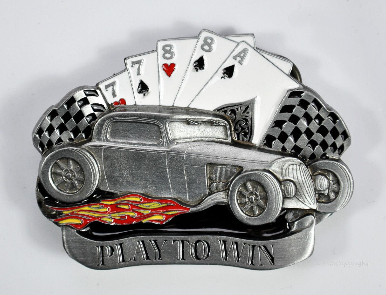 * Rockabilly Hot Rod Gürtelschnalle Auto Rock`nRoll Vintage Race Buckle *518