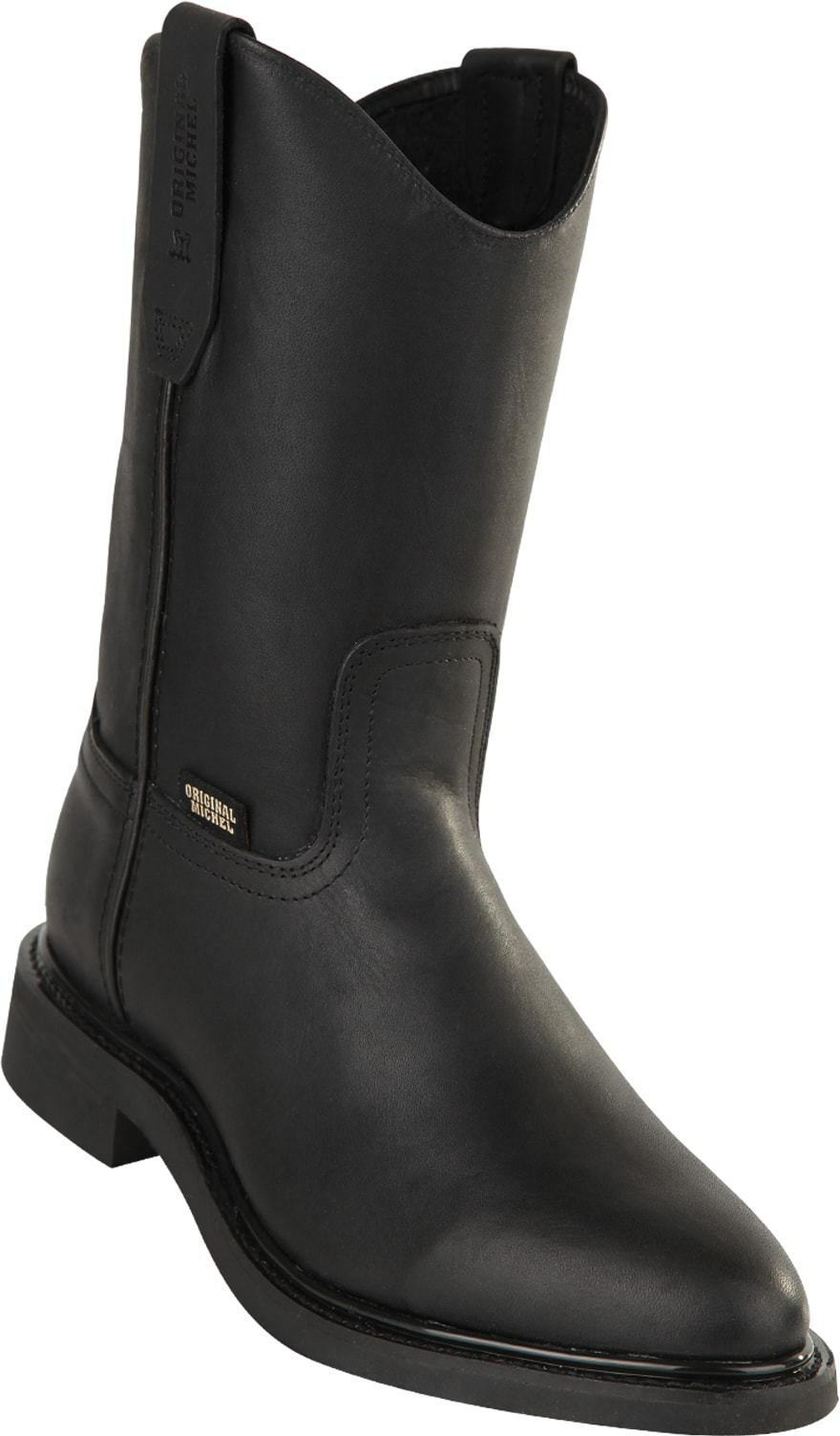 Men's Original Michel Genuine Leather Pull On Western Work Boots Rubber Sole