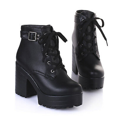 Punk Womens Shoes Lace Up Chunky High Heels Platform Goth Creeper Ankle Boots SZ