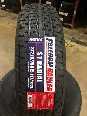 2 Freedom Hauler ST Radial ST225//75R15 117//112L E 10 Ply Trailer Tire