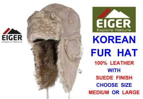 EIGER LEATHER /& SUEDE KOREAN FUR TRAPPER HAT WINTER HOLIDAY SKIING SNOW HIKING