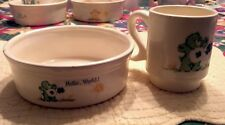 Vintage Ceramic Care Bears Bowl & Cup Set Good Luck Bear for girl named Katie