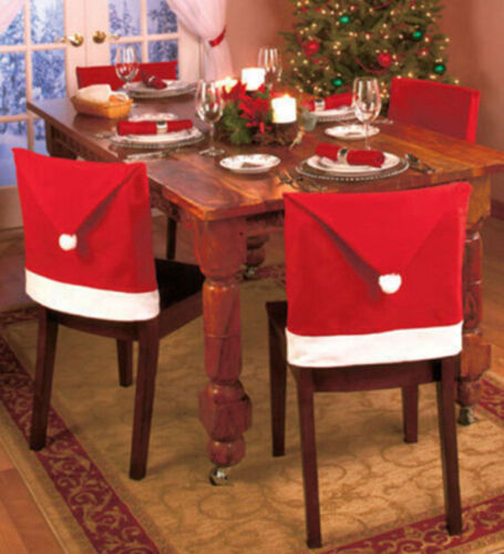 Party Christmas Xmas Decor Table Red Hat Ornaments Dinner Chair Cover Clause xu