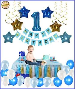 1st Birthday Boy Decorations Kit Complete One Year Party Decoration Ebay