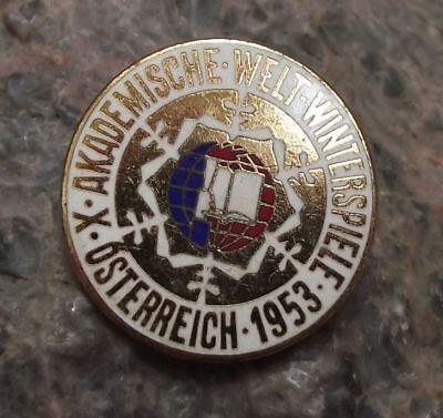 1953 Academic 10th World Winter Sports Austria IUS Student Skiing Pin Badge