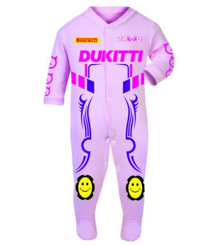 Dukitti Pink Baby Biker Race Sleep Suits