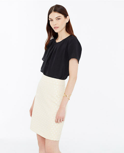 Ann Taylor - 10P Cream Shell Dot Jacquard Cotton Blend Pencil Skirt  89.00 (B20)