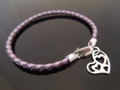 "3mm Purple Braided Leather Bracelet /& Sterling Silver Heart Charm 7.5/"" 8/"" 8.5/"" 9"
