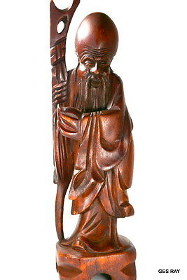Hand Carved Wooden Vintage Chinese Wise Man With Walking Stick Shou Lao Figurine