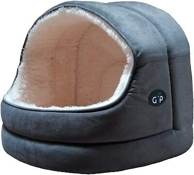 Dog / Cat Nordic Hooded Bed Fluffy Kitten Puppy Pet Cushion Foldable soft Grey    eBay