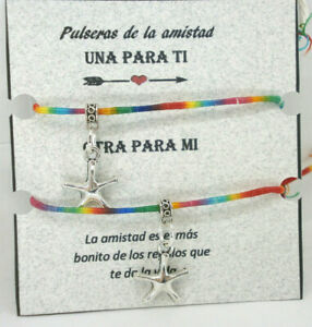"""hilo arcoiris con charm estrellita Pulseras de la amistad /""""Junio/"""""""