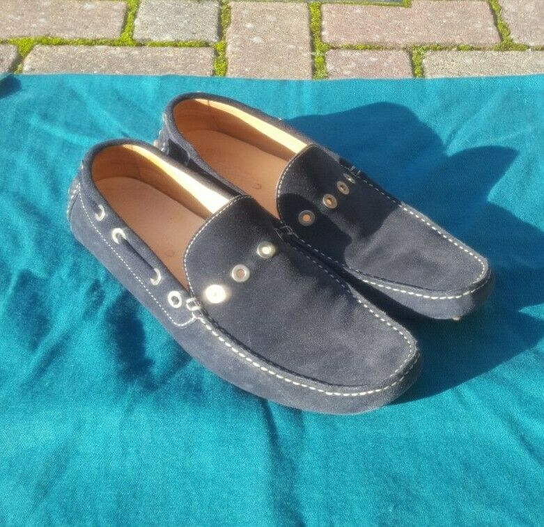 *Used Once* Lovely Mens Dark Navy Suede ▪DRIVING SHOES▪Moccasin Style~Size UK 10