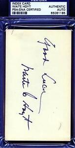 Waite Hoyt Signed Psa/dna 3x5 Index Card Certified Autograph