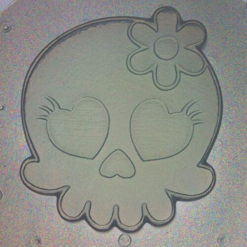 Flexible Mold Kawaii Girl Skull W// Flower Bow Resin Or Chocolate Mould