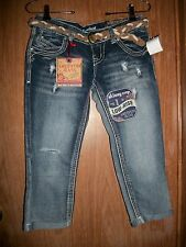 NWT AMETHYST DARK FADED WASH LOW-RISE SKINNY CROP BELTED JEANS Size 3 Ret $44