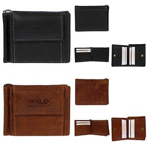 Herren-Damen-echt-Leder-Geldboerse-Geldscheinklammer-Schwarz-Braun-Brieftasche