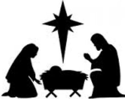20 WATER SLIDE NAIL ART  DECAL TRANSFER BLACK CHRISTMAS NATIVITY SCENE 1
