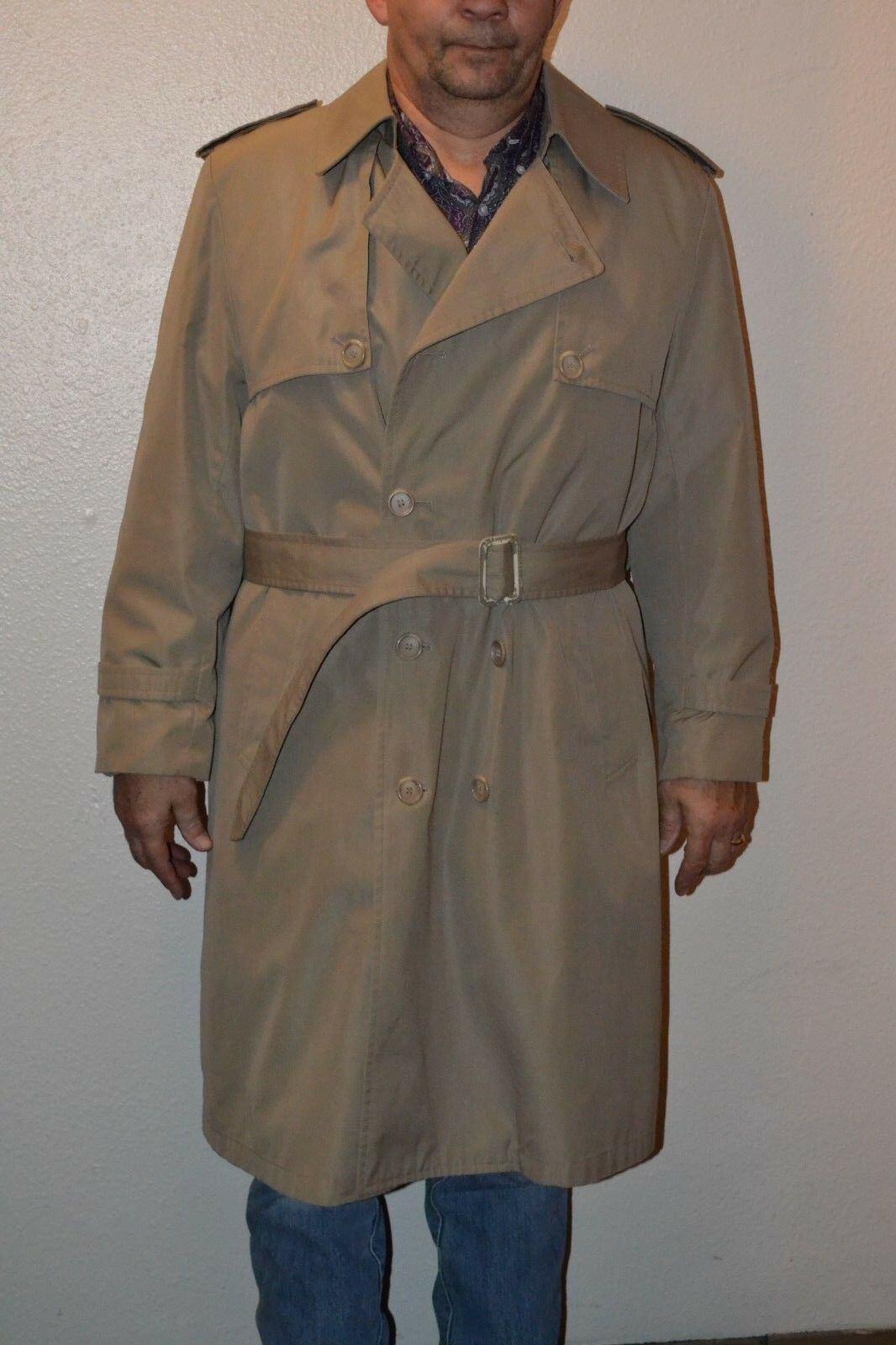 LAKELAND Beige Lined Cotton Blend Button Down Knee Length Trench Coat 40 Short